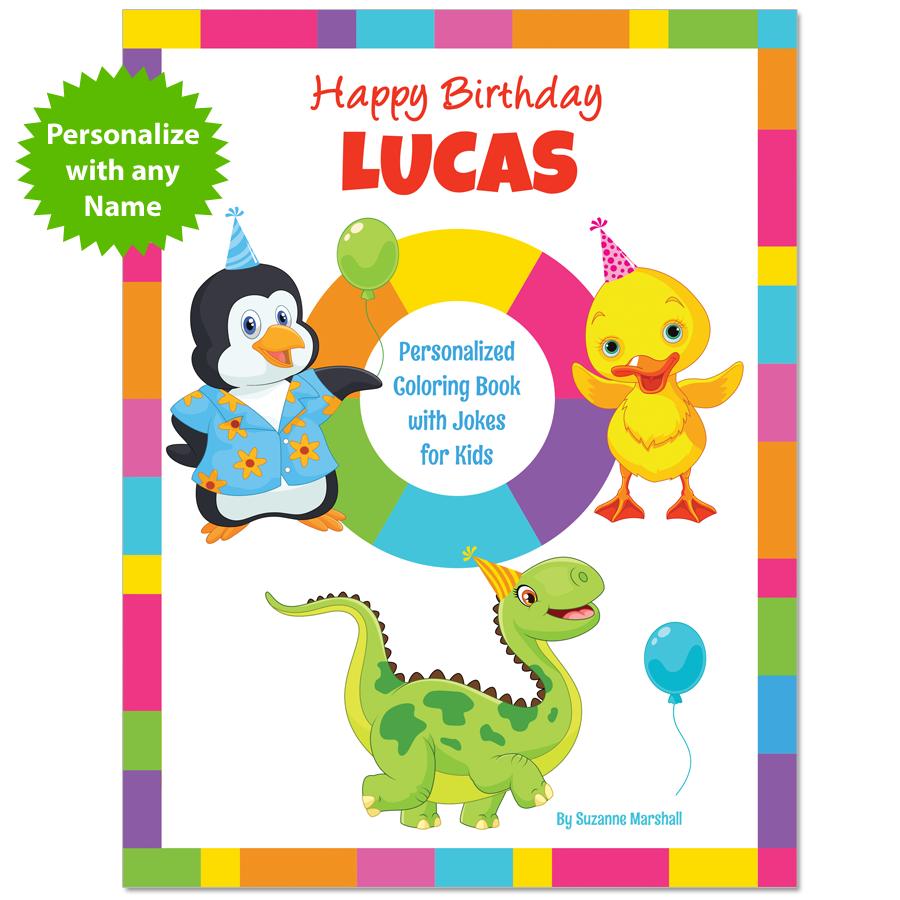 Kids joke book with birthday jokes for kids and birthday coloring pages